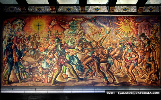 Title: The Clash.<br /><br />By: Alfredo Gálvez Suárez.<br /><br />A depiction of the battle of 1524 in which the Spanish conquistadores defeated the Army leaded by Tecum Umam.